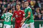 01.12.2018, Weserstadion, Bremen, GER, 1.FBL, Werder Bremen vs FC Bayern Muenchen<br /> <br /> DFL REGULATIONS PROHIBIT ANY USE OF PHOTOGRAPHS AS IMAGE SEQUENCES AND/OR QUASI-VIDEO.<br /> <br /> im Bild / picture shows<br /> Joshua Kimmich (FC Bayern Muenchen #32), Max Kruse (Werder Bremen #10) Kapit&auml;n / mit Kapit&auml;nsbinde, <br /> <br /> Foto &copy; nordphoto / Ewert