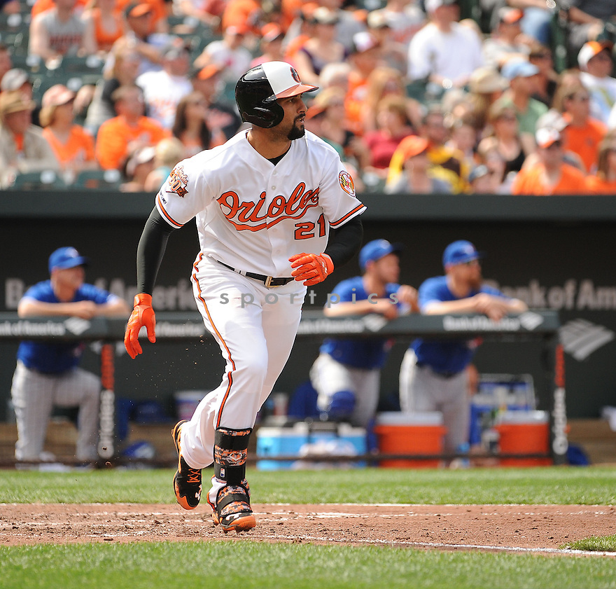 Baltimore Orioles Nick Markakis (21) during a game against the Toronto Blue Jays on April 13, 2014 at Oriole Park in Baltimore, MD. The Blue Jays beat the Orioles 11-3.
