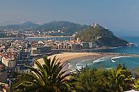 Europe/Espagne/Guipuscoa/Pays Basque/Saint-Sébastien: La ville vue depuis le mont Ulia, ancien poste d'observation des baleines