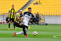 Melbourne Victory&rsquo;s Kosta Barborouses and Wellington Phoenix&rsquo; Roy Krishna in action during the A League - Wellington Phoenix v Melbourne Victory FC at Westpac Stadium, Wellington, New Zealand on Sunday 3 December.<br /> Photo by Masanori Udagawa. <br /> www.photowellington.photoshelter.com