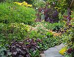 Vashon-Maury Island, WA<br /> Pathway through a summer perennial garden featuring heucheras, bergenia, hypericum, lilies, ferns and cotinus
