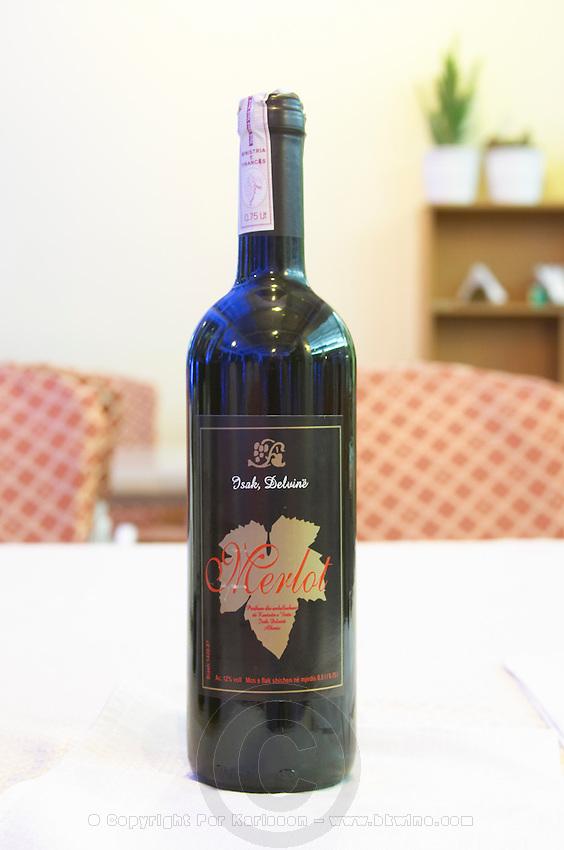 Bottle of Isak Delvine Merlot Tirana capital. Albania, Balkan, Europe.