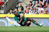 Vereniki Goneva of Leicester Tigers scores a try in the corner during the Aviva Premiership Final between Leicester Tigers and Northampton Saints at Twickenham Stadium on Saturday 25th May 2013 (Photo by Rob Munro)