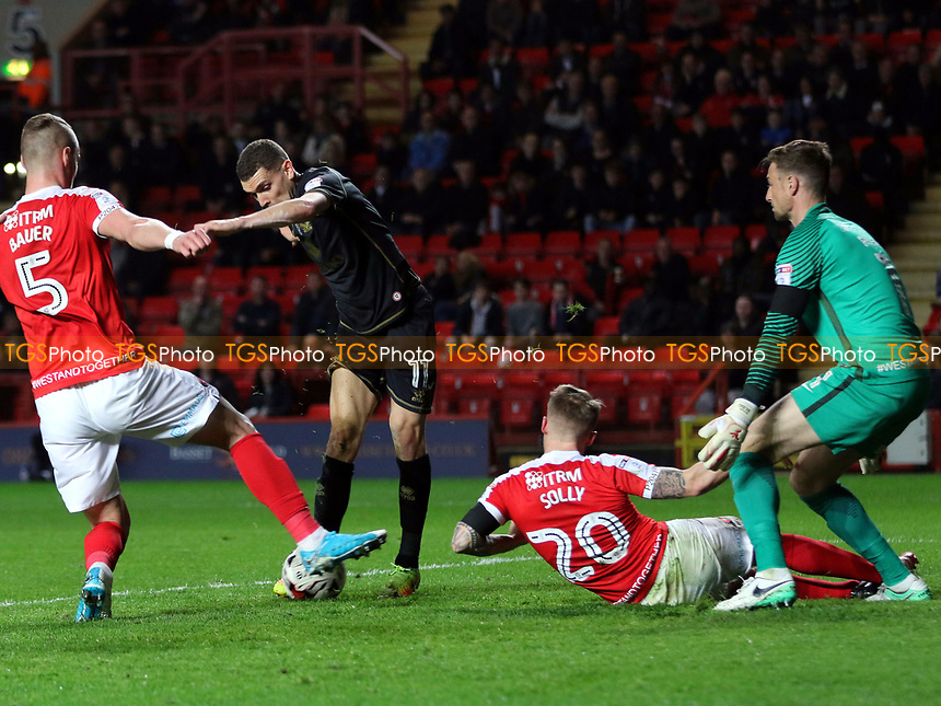 Charlton defenders Patrick Bauer and Chris Solly combine to block a shot from MK Dons Stuart O'Keefe during Charlton Athletic vs MK Dons, Sky Bet EFL League 1 Football at The Valley on 4th April 2017