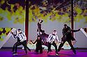 London, UK. 18.10.2013. Boy Blue Entertainment perform THE FIVE AND THE PROPHECY OF PRANA at the Barbican theatre. Dancers are: Michele 'Paleta' Rhyner, Bradley 'Bradz' Charles, Theo 'Godson' Oloyade, Kofi 'Klik' Mingo, Xena Gusthart, Vicky 'Skytilz' Mantey, Duwane Taylor, Kayla Lomas-Kirton, shaun Smith, Hakim Saber and Jumar Aben. Picture shows: Jumar Aben, Hakim Saber, Michele 'Paleta' Rhyner, Kayla Lomas-Kirton, Shaun Smith, Duwane Taylor. Photograph © Jane Hobson.