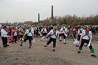 Pictured: Dancers during The Man Engine show at the Copper Works in Morfa, Swansea, Wales, UK. Thursday 12 April 2018<br /> Re: The largest mechanical puppet in Britain starts its tour across south Wales.<br /> Man Engine, a mechanical miner which measures 36ft (11m) tall, has appeared at the Waterfront Museum and the former Copper Works in Swansea, Wales, animated by a dozen handlers.<br /> The giant is visiting areas linked to the nation's industrial past.