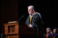 Chair of the Occidental College Board of Trustees Stephen Rountree '71.<br /> The class of 2023 are welcomed to Occidental College by trustees, faculty and staff in Thorne Hall on Aug. 27, 2019 during Oxy's 132th Convocation ceremony, a tradition that formally marks the start of the academic year and welcomes the new class.<br /> (Photo by Marc Campos, Occidental College Photographer)