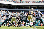 The Philadelphia Eagles Offensive line with offensive tackle Jamaal Jackson #67, center Nick Cole #59, and offensive tackle Jason Peters #71 during the NFL game between the New Orleans Saints and the Philadelphia Eagles on September 20th 2009. The Saints won 48-22 at Lincoln Financial Field in Philadelphia, Pennsylvania. (Photo by Brian Garfinkel)
