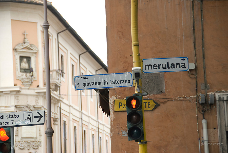 crossing of piazza san giovanni di laterano and via merulana, rome, italy