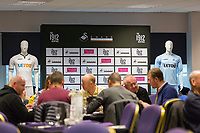 The 1912 Heritage Experience in the Gower Suite with adverts from Peter Lynn and Partners Solicitors and the home and goalkeeping kits prior to kick off of the Premier League match between Swansea City and Leicester City at The Liberty Stadium, Swansea, Wales, UK. Saturday 21 October 2017