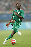 19 August 2008: Chinedu Ogbuke (NGA).  The men's Olympic soccer team of Nigeria defeated the men's Olympic soccer team of Belgium 4-1 at Shanghai Stadium in Shanghai, China in a Semifinal match in the Men's Olympic Football competition.