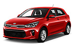 2017 KIA Rio Fusion 5 Door Hatchback Angular Front stock photos of front three quarter view