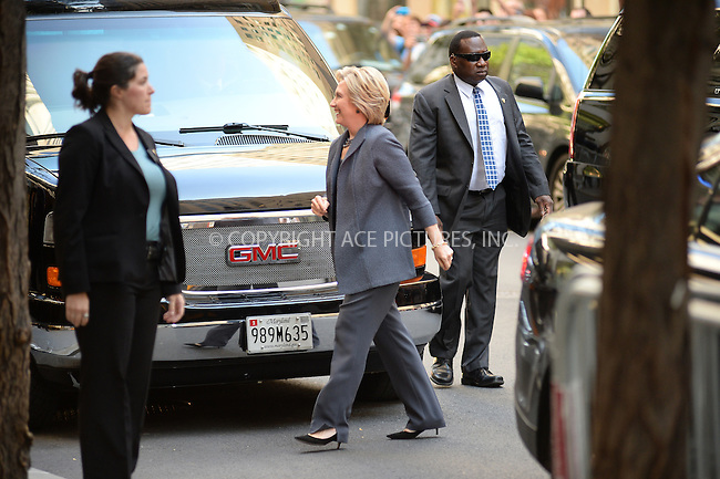 www.acepixs.com<br /> September 17, 2016 New York City<br /> <br /> Hillary Clinton arriving to tape an appearance on the Tonight Show with Jimmy Fallon on September 17, 2016 in New York City.<br /> <br /> Credit: Kristin Callahan/ACE Pictures<br /> <br /> <br /> Tel: 646 769 0430<br /> Email: info@acepixs.com