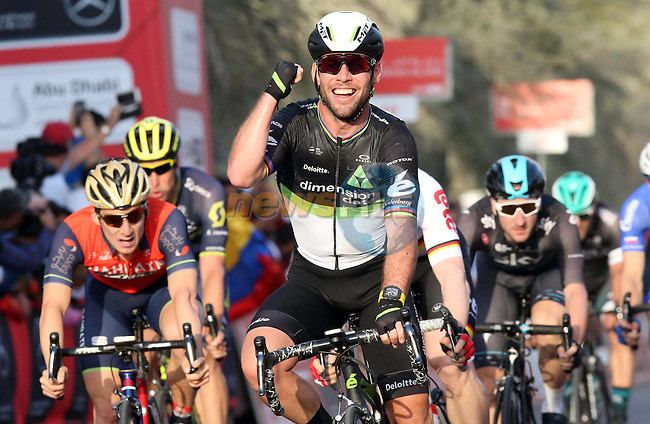 Mark Cavendish (GBR) Team Dimension Data wins Stage 1 Emirates Motor Company Stage of the 2017 Abu Dhabi Tour, running 189km from Madinat Zayed through the desert and back to Madinat Zayed, Abu Dhabi. 23rd February 2017<br /> Picture: ANSA/Matteo Bazzi | Newsfile<br /> <br /> <br /> All photos usage must carry mandatory copyright credit (&copy; Newsfile | ANSA)