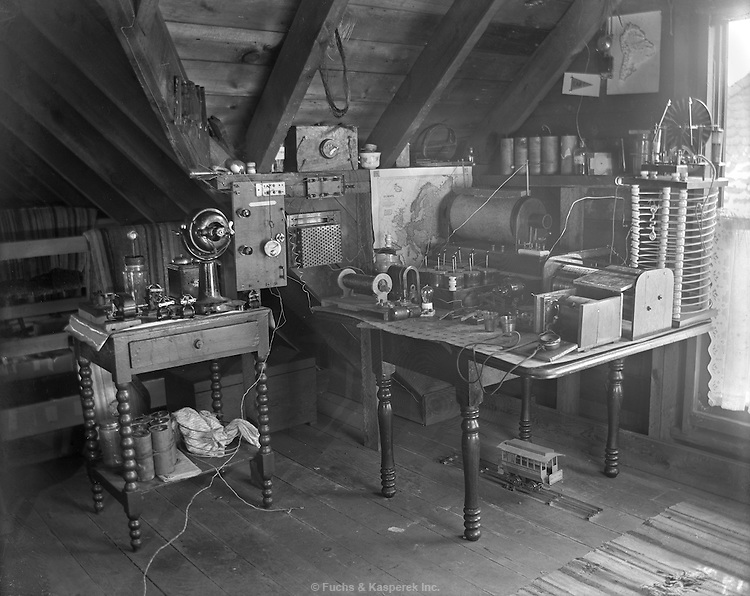 An early and elaborate radio setup in an attic. Circa 1916.