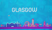 EM Spielort Glasgow auf der Videowand - 30.11.2019: UEFA EURO2020 Auslosung, Romexpo Bukarest, DISCLAIMER: UEFA regulations prohibit any use of photographs as image sequences and/or quasi-video.