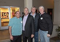 From left, Michael Guzman '88, Brian Newhall '83, Hans Mumper '84 and Scott Schroeder '85<br /> Now in his 30th year as Oxy's head men's basketball coach, Brian Newhall received a much deserved celebration with a surprise halftime ceremony and post game reception in the Booth Hall courtyard with more than 70 former and current players from all different generations and decades in attendance, on Saturday, Jan. 26, 2019.<br /> Newhall is the winningest coach in Oxy history and has a 100 percent graduation rate in his 30 years at the helm of the program. His resume boasts multiple SCIAC Championships and NCAA Playoff appearances, along with a run to the NCAA Division III Elite Eight in 2003 and the only perfect 14-0 season in SCIAC history. Newhall has not only coached at Oxy, but was a SCIAC Champion and SCIAC Player of the Year during his playing career at Oxy in the early 80s.<br /> (Photo by Marc Campos, Occidental College Photographer)