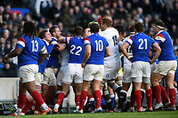 A fight breaks out between the two teams. Guinness Six Nations match between England and France on February 10, 2019 at Twickenham Stadium in London, England. Photo by: Patrick Khachfe / Onside Images