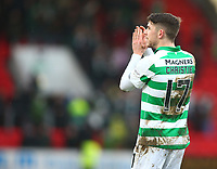 1st March 2020; McDairmid Park, Perth, Perth and Kinross, Scotland; Scottish Premiership Football, St Johnstone versus Celtic; Ryan Christie of Celtic applauds the supporters after his goal puts Celtic in the Scottish Cup semi finals