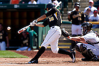 Kevin Hall (18) of the Wichita State Shockers makes contact on a pitch during a game against the Missouri State Bears on April 9, 2011 at Hammons Field in Springfield, Missouri.  Photo By David Welker/Four Seam Images