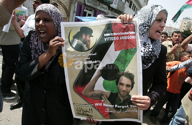 Palestinians participate in a rally, one of several taking place across the Israeli occupied West Bank and Gaza Strip, calling for the release of Palestinians being held in Israeli jails, as they mark Palestinian Prisoner's Day in Gaza City on 17 April 2011. Some 5,500 Palestinians are held in Israeli prisons according to figures compiled in February 2011 by Israeli human rights group B'tselem. For more than 20 years, Palestinians have marked April 17 as Prisoner's Day. Photo by Mohammed Othman