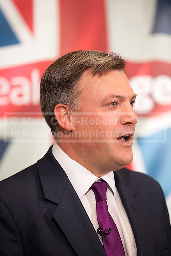 08/07/2012. LONDON, UK. The shadow chancellor, Ed Balls, answers questions after a talk by Labour Leader, Ed Miliband, on responsible banking at the Cooperative Bank in East London today (09/07/12). Photo credit: Matt Cetti-Roberts