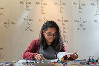 Chemistry A104 student Leslie Cajimat works on a pre-lab exercise using molecular models in the Conoco Phillips Integrated Science Building.