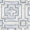 Felix, a hand-cut stone mosaic, shown in polished Cirrus, Calacatta Gold, Allure.