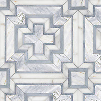 Felix, a hand-cut stone mosaic, shown in polished Cirrus, Calacatta Gold, Allure.