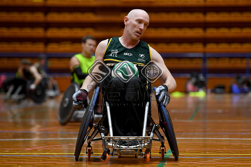 Jason Lees (AUS)<br /> Australian Steelers WC Training Camp<br /> Australian Wheelchair Rugby Team<br /> Australian Paralympic Committee<br /> Darwin NT / NTIS Stadium<br /> Monday 16 July 2018<br /> © Sport the library / Jeff Crow