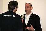 21 November 2009: MLS Commissioner Don Garber (right) talks with BBC correspondent Sean Wheelock (left). The Los Angeles Galaxy held a training session at Qwest Field in Seattle, Washington in preparation for playing Real Salt Lake in Major League Soccer's championship game, MLS Cup 2009, the following day.