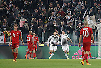 Calcio, andata degli ottavi di finale di Champions League: Juventus vs Bayern Monaco. Torino, Juventus Stadium, 23 febbraio 2016. <br /> Juventus' Stefano Sturaro, second from right, celebrates after scoring the equalizer goal during the Champions League first leg round of 16 football match between Juventus and Bayern at Turin's Juventus Stadium, 23 February 2016. The game ended 2-2.<br /> UPDATE IMAGES PRESS/Isabella Bonotto
