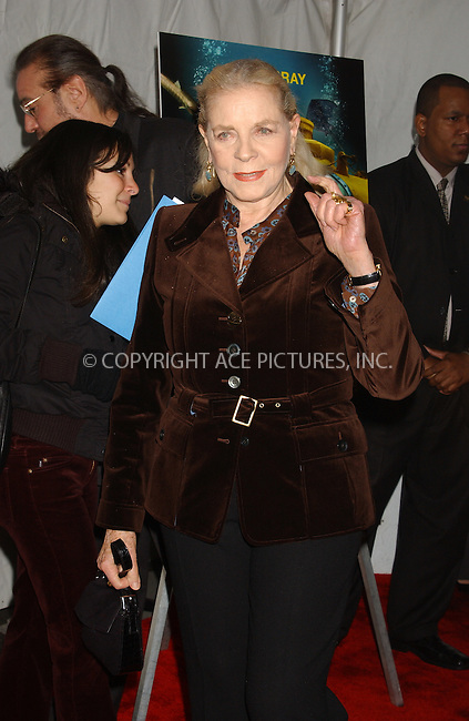 WWW.ACEPIXS.COM . . . . . ....NEW YORK, DECEMBER 9, 2004....Lauren Bacall at the NYC premiere of 'The Life Aquatic with Steve Zissou' at the Ziegfeld Theater.....Please byline: ACE006 - ACE PICTURES.. . . . . . ..Ace Pictures, Inc:  ..Alecsey Boldeskul (646) 267-6913 ..Philip Vaughan (646) 769-0430..e-mail: info@acepixs.com..web: http://www.acepixs.com