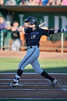 Alex King (19) of the Missoula Osprey bats against the Ogden Raptors at Lindquist Field on July 12, 2018 in Ogden, Utah. Missoula defeated Ogden 11-4. (Stephen Smith/Four Seam Images)
