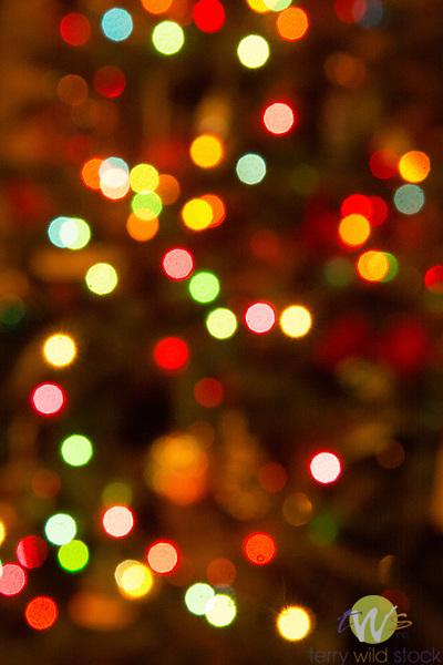 Christmas tree light bokeh effect.