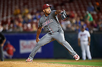 Lehigh Valley IronPigs relief pitcher Dalier Hinojosa (38) during a game against the Buffalo Bisons on August 29, 2016 at Coca-Cola Field in Buffalo, New York.  Buffalo defeated Lehigh Valley 3-2.  (Mike Janes/Four Seam Images)
