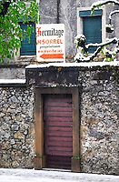 Hermitage Marc Sorrel in the town Tain l'hermitage. A wooden entrance door.  Tain l'Hermitage, Drome, Drôme, France, Europe