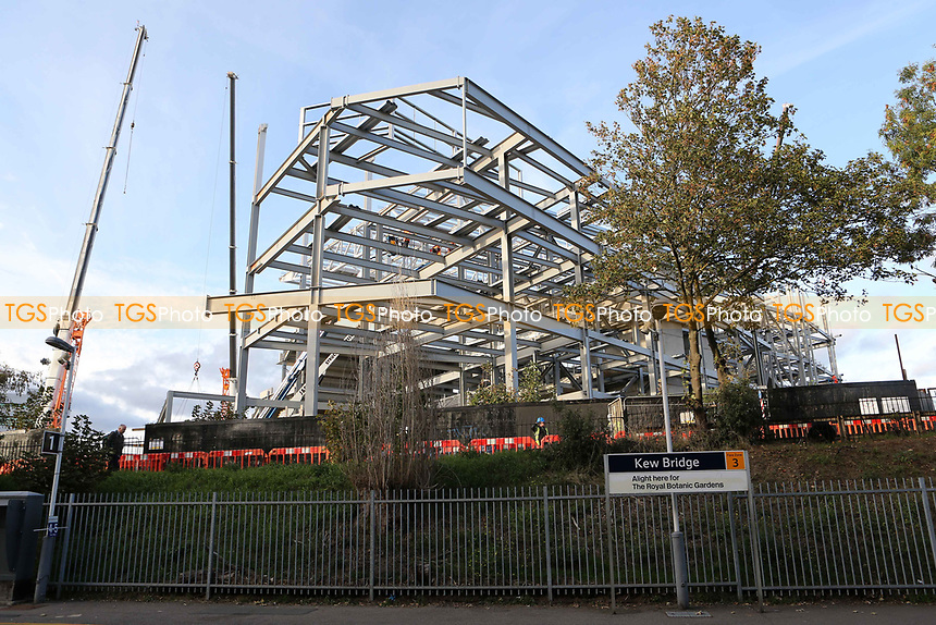 General view of the continuing work taking place at  Brentford's new Community Stadium in Lionel Road South adjacent to Kew Bridge Railway Station during Brentford vs Birmingham City, Sky Bet EFL Championship Football at Griffin Park on 2nd October 2018