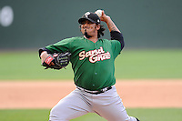 Pitcher Paul Paez (38) of the Savannah Sand Gnats, delivers a pitch in a game against the Greenville Drive on Sunday, July 5, 2015, at Fluor Field at the West End in Greenville, South Carolina. Savannah won, 8-6. (Tom Priddy/Four Seam Images)