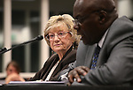 Nevada Sen. Joyce Woodhouse, D-Las Vegas, and lobbyist Frank Woodbeck testify in a committee hearing at the Legislative Building in Carson City, Nev., on Tuesday, April 14, 2015.<br /> Photo by Cathleen Allison