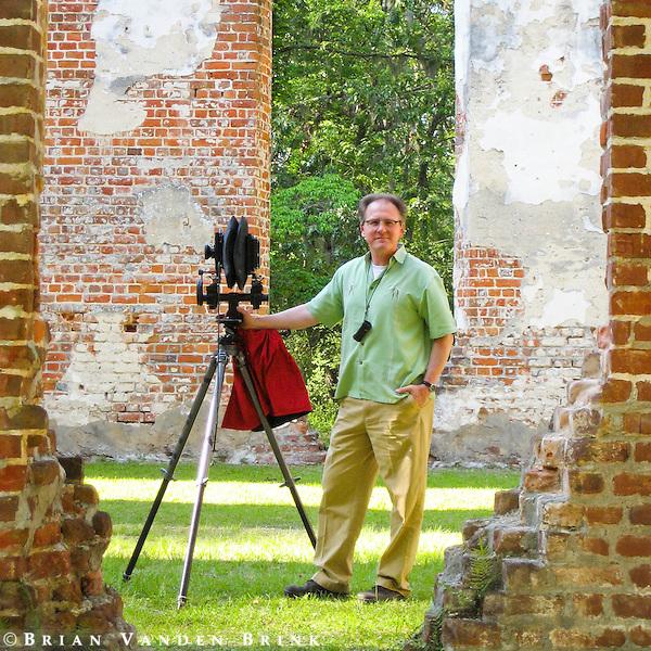 """Brian at the ruins of """"Old Sheldon"""", Prince William's Parish Church, Yemassee, South Carolina."""