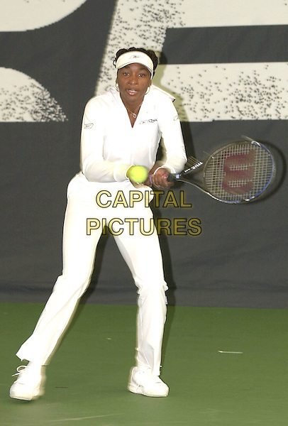 VENUS WILLIAMS .at launch of Two Nations Challenge childrens tennis tournament (GB & USA)..21st June 2002..full length.Ref: PL.www.capitalpictures.com.sales@capitalpictures.com.©Capital Pictures.