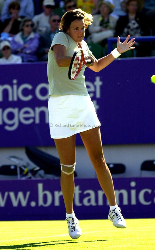 Photo. Rene Solari..19/6/01  .Eastbourne Day 2. American Lindsay Davenport on form against Frence Anne-Gaelle Sidot....