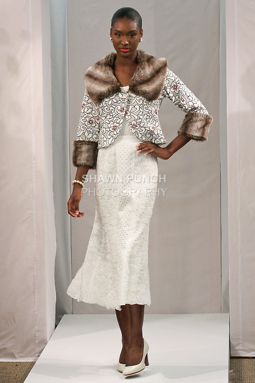"""Felisha walks runway in an outfit by Way Zen, for the JSONG...Way Fall 2011 """"Dreams of Happiness"""" collection, fashion show."""