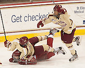?, Kaliya Johnson (BC - 6), Blake Bolden (BC - 10) - The Boston College Eagles defeated the visiting Harvard University Crimson 3-1 in their NCAA quarterfinal matchup on Saturday, March 16, 2013, at Kelley Rink in Conte Forum in Chestnut Hill, Massachusetts.