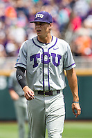TCU Horned Frogs designated hitter Connor Wanhanen (16) before the NCAA College World Series game against the LSU Tigers on June 14, 2015 at TD Ameritrade Park in Omaha, Nebraska. TCU defeated LSU 10-3. (Andrew Woolley/Four Seam Images)