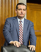 """United States Senator Ted Cruz (Republican of Texas), a candidate for the Republican nomination to be President of the United States, prepares to depart after questioning the witnesses during the US Senate Committee on Armed Services hearing concerning """"Impacts of the Joint Comprehensive Plan of Action (JCPOA) on U.S. Interests and the Military Balance in the Middle East"""" on Capitol Hill on Wednesday, July 29, 2015.<br /> Credit: Ron Sachs / CNP"""