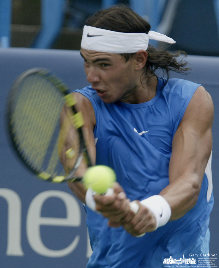 18 August 2006: Rafael Nadal, of Spain, plays during the during the ATP Cincinnati Masters tennis tournament in Mason, Ohio.<br />