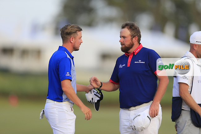Jonas Blixt (SWE) and Shane Lowry (IRL) during round 3 of the Players, TPC Sawgrass, Championship Way, Ponte Vedra Beach, FL 32082, USA. 14/05/2016.<br /> Picture: Golffile | Fran Caffrey<br /> <br /> <br /> All photo usage must carry mandatory copyright credit (&copy; Golffile | Fran Caffrey)