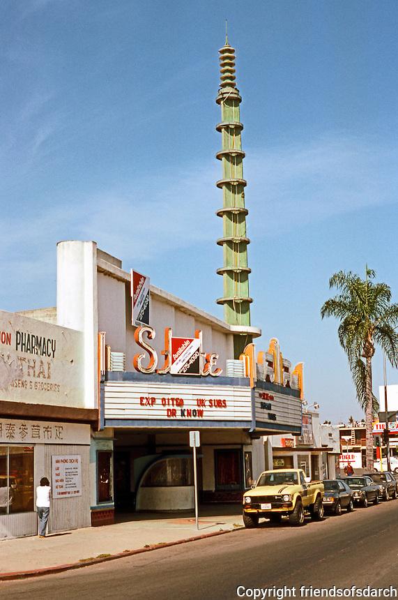 San Diego: State Theatre, 4712 El Cajon Blvd., c. 1938. (Vaguely Wrightian Tower?)